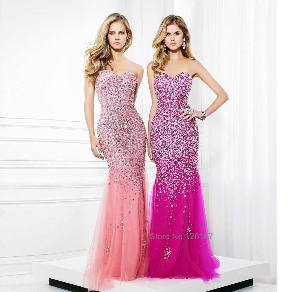 High Quality Pink Evening Sparkly Dress-Buy Cheap Pink Evening ...