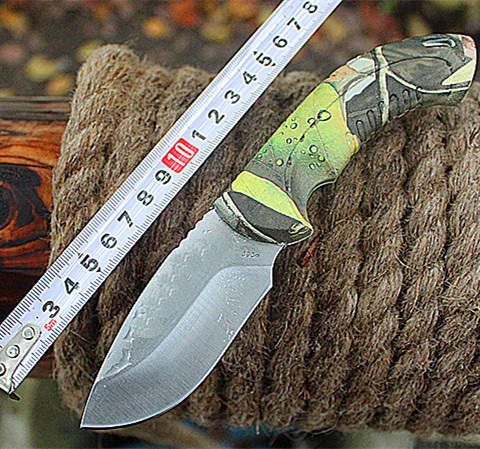 Free shipping OEM Buck straight camping hunting knives survival fixed blade knife rescue tool 440C 58HRC blade + Sheath(China (Mainland))