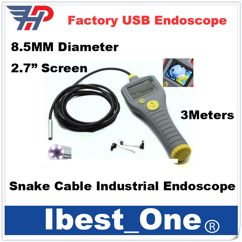 Free Shipping!Longer 3mDia 8.5mm Tube Snake Camera Endoscope ,auto video Industrial endoscope camera(China (Mainland))