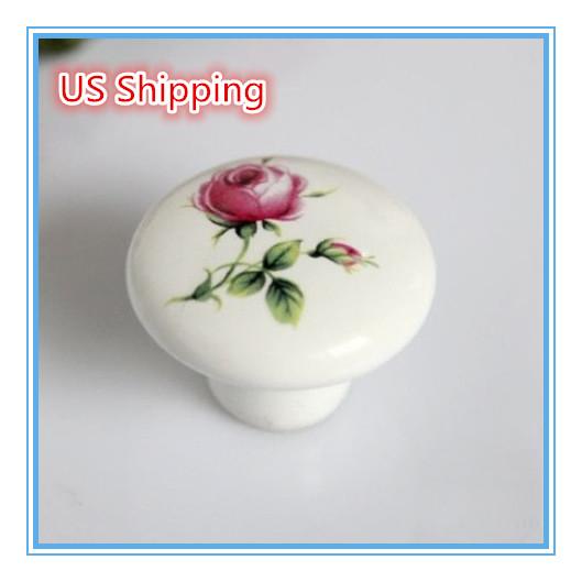 US Shipping 5pcs Kids Knob printing Rose Flower Ceramic knob handle Kitchen Furniture cabinet drawer pulls(China (Mainland))