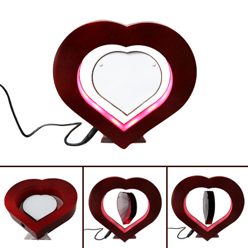 FREE SHIPPING Animation Cartoon Electro Magnetic Heart Shaped Floating Photo Frame Lights For Gift <br><br>Aliexpress