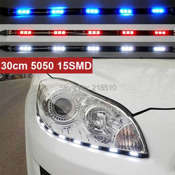 Новые 2 шт. x 30 см 5050 15 СМД DRL универсальная автомобильная стайлинг гибкая из светодиодов дневные ходовые огни водонепроницаемый 3 цветов бесплатная доставка
