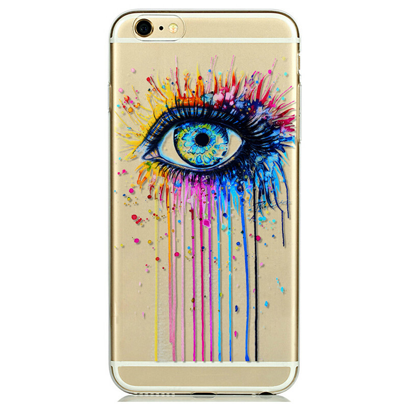For iPhone 6 4.7Inch Colorful Eyes Phone Case Cover Painted Ultra Thin TPU Mobile Phone Accessory Back Case