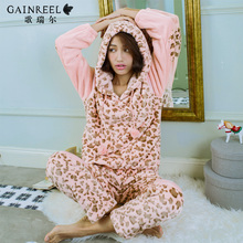Song Riel winter casual long-sleeved flannel pajamas can Waichuan Ms. thicker Pyjamas Set shadows butterflies