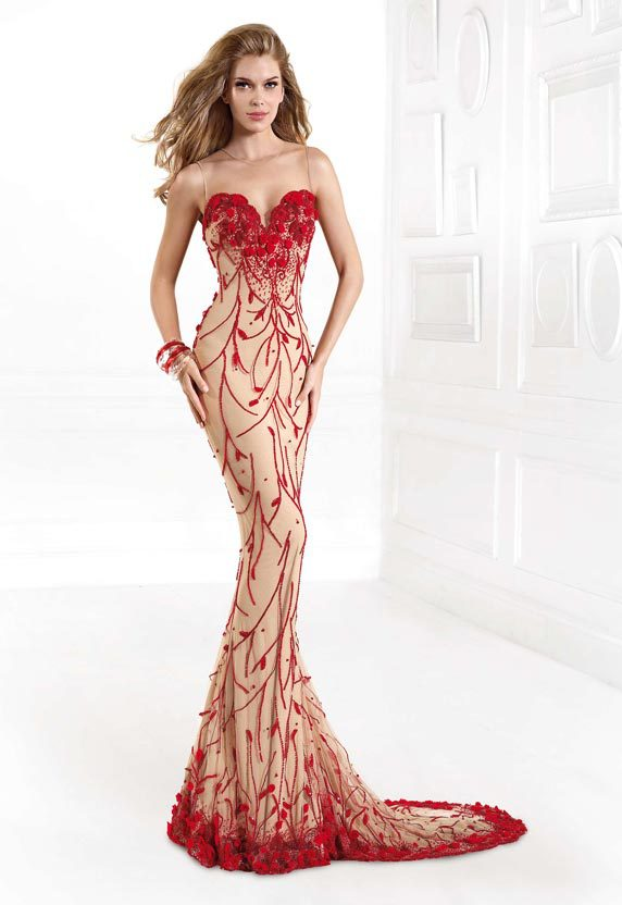 Summer Style See Through Top Embroidery Long Red Evening Dresses robe de soiree 2015 Sexy Vestidos Special Occasion Dresses(China (Mainland))