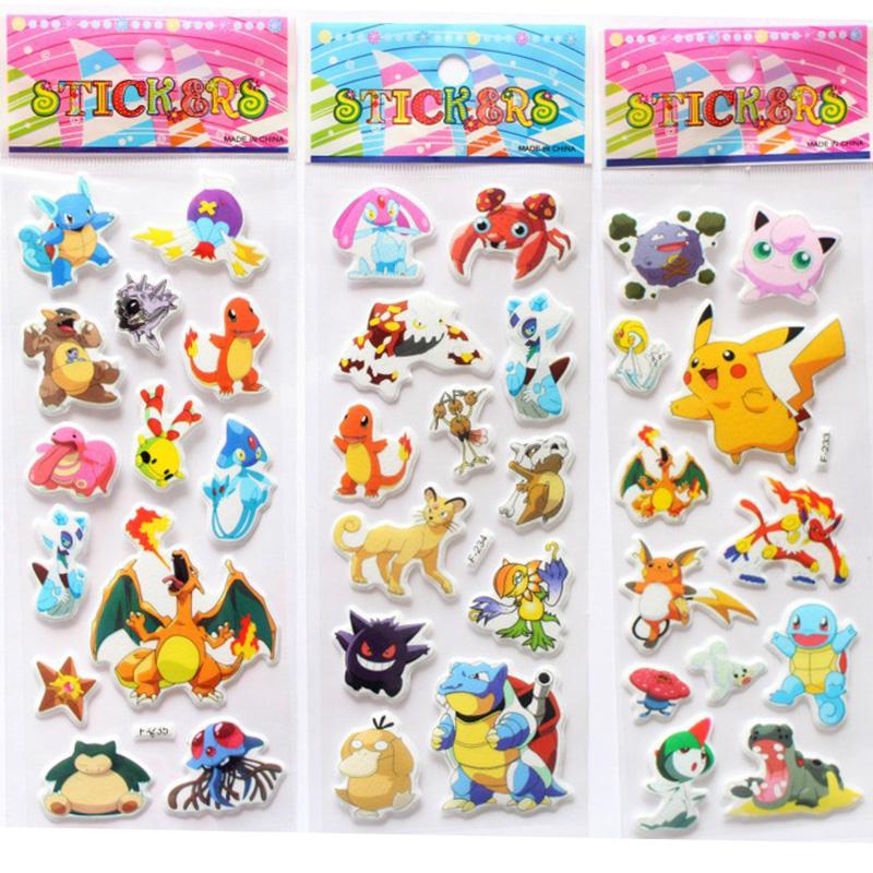 Cartoon Foam 3D Sticker Cute Pikachu Stickers Cartoon Anime Cute Stickers Rooms Home Decor Notebook Label Decoration toy(China (Mainland))
