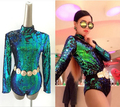 2016 Newest style female singer leotard DS costumes DJ bar laser ultra long sleeved backless green