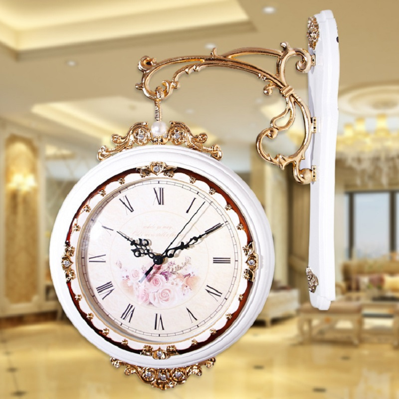 Home decor clock 2016 new double sided wall clock retro wall clock vintage wall clocks home - Antique clock designs for your home ...