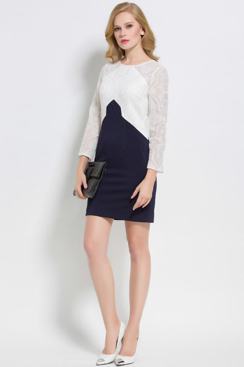 Women new  Fashion Patchwork Women Lace Dress Long Sleeve Sheath Work DressesОдежда и ак�е��уары<br><br><br>Aliexpress