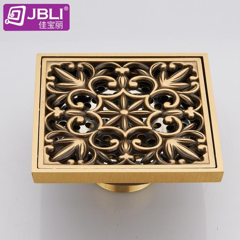 Luxurious bathroom hardware bathroom floor drain odor pest control anti-overflow European antique carved all copper casting(China (Mainland))