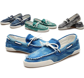 Size 39-46 Low Style Fashion Men's Zapato Del Boat Casual Shoes Jeans Canvas Slip On Flats Loafer shoes Black Color in Stock