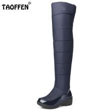 Nuevo de Las Mujeres de Alto de Rodilla de Invierno Botas de Mujer de Suela De Goma de Piel Caliente Zapatos de Vestir Al Aire Libre Nieve Botas de Plataforma de Tamaño 35-40(China (Mainland))