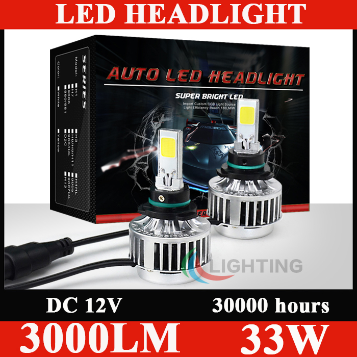 All In One 9006 Auto Headlamps LED COB CREE Chip Fog DRL 3000LM Hiht Bright HB4 headlights 33W 12V Bulb Light Without Ballast(China (Mainland))
