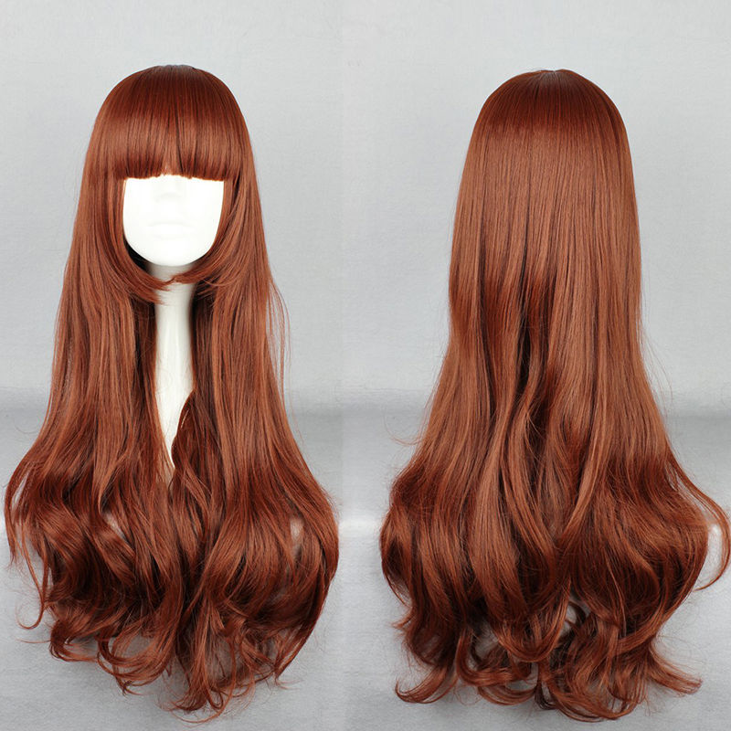 TJS &Wholesale&>> New Fashion Lolita Chocolate Long Curly Cosplay Anime Hair Full Wigs(China (Mainland))