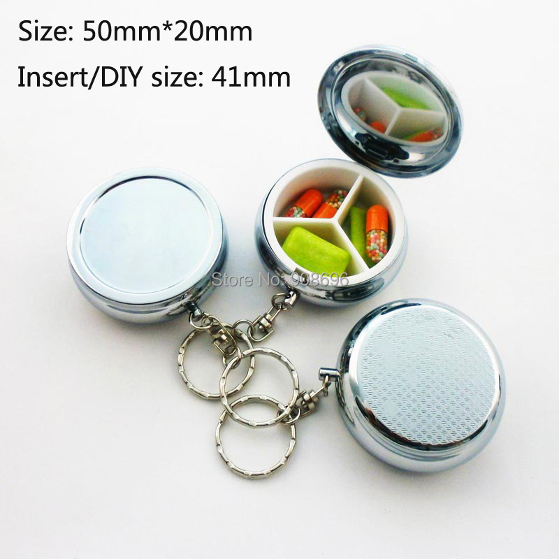 Wholesale 100PCS Blank Metal Circle Pill Boxes Pill Container 3 Grids Mini Portable Travel Case with Key chain - Free Shipping(China (Mainland))