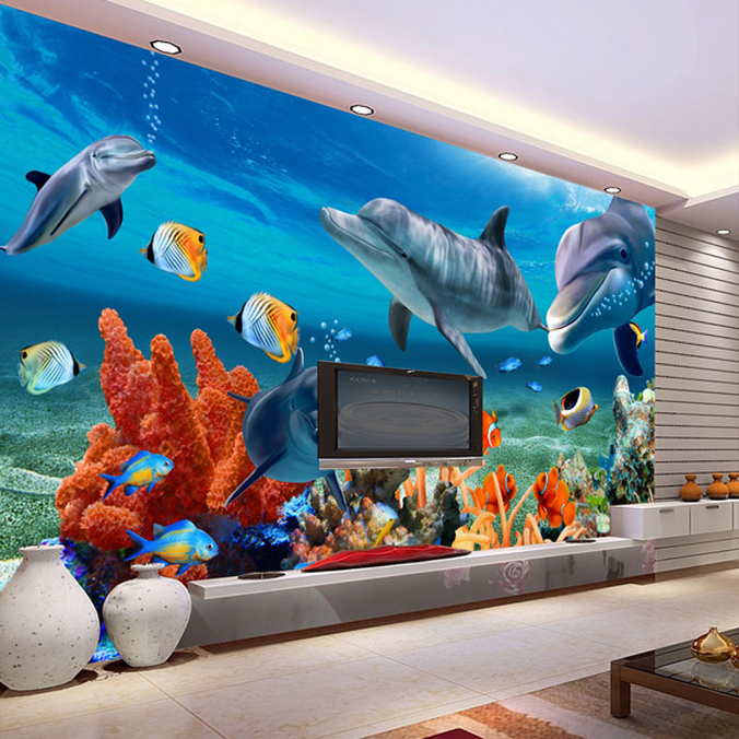 3d wallpaper murals large underwater world scenery for Aquarium mural