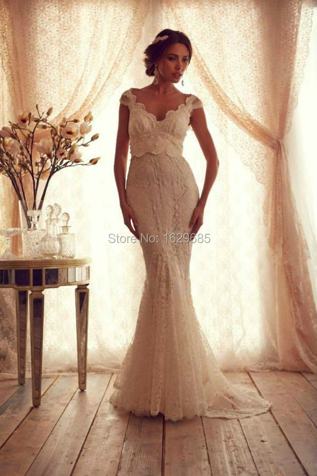 Brand Wedding Dress 2015 Fashionable V Neckline Open Back Mermaid Bridal Gowns vestido noiva(China (Mainland))