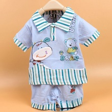 2015  Short-Sleeve Tops T-shirt  Baby Girls Boys Children kids + Pants Two Piece Clothing Set Suits PLUS034