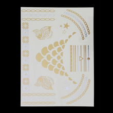 Sexy Simple Style Health Temporary Tattoos Gold Silver Metallic Tattoo Sticker Women Jewelry Waterproof Flash tattoos T048