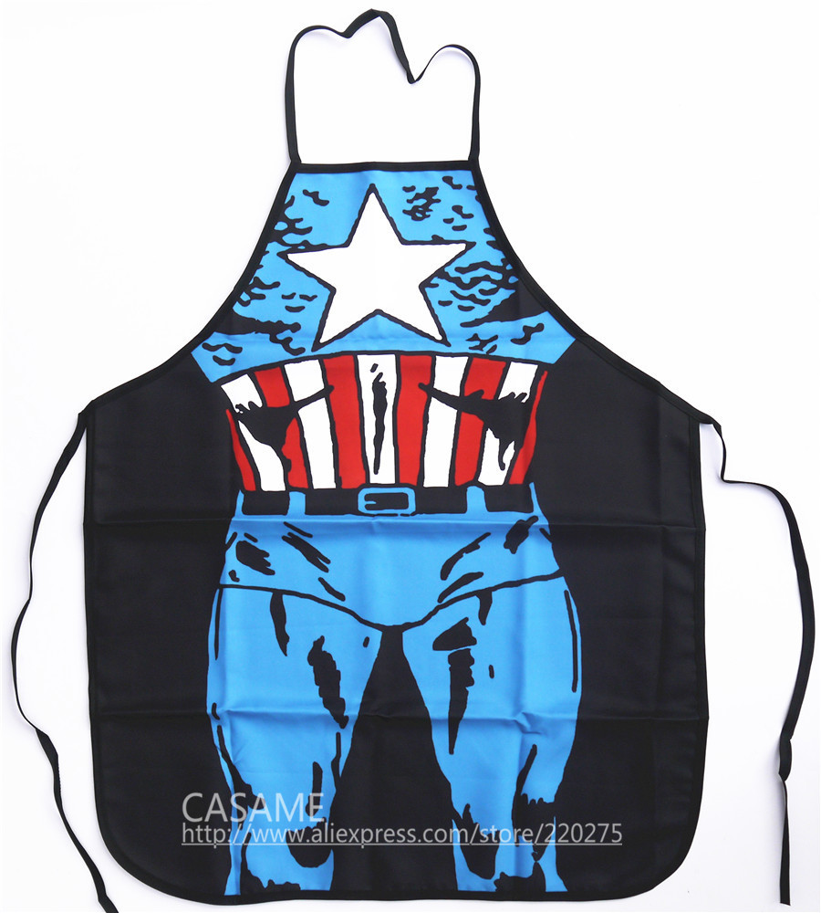 Freeshipping Funny apron Captain America Character Costume Apron Cooking apron Party Apron sexy(China (Mainland))