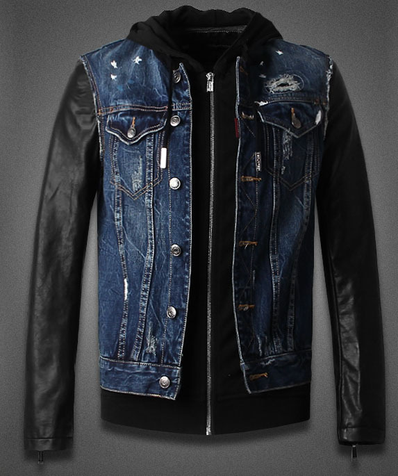 Leather Jeans Jacket - Jacket