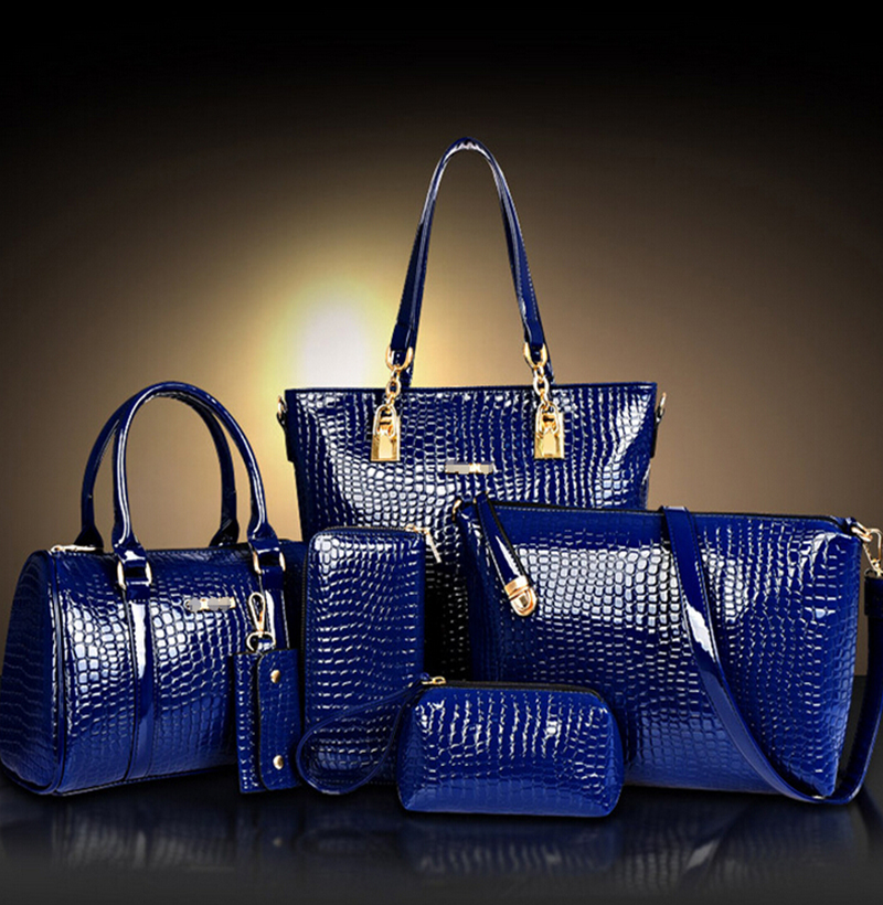 2016 Fashion Crocodile Handbag PU Leather Bag Women Handbags Crossbody Bag Handbag+Messenger Bag+rse+Wallet 6 sets WHC008462(China (Mainland))