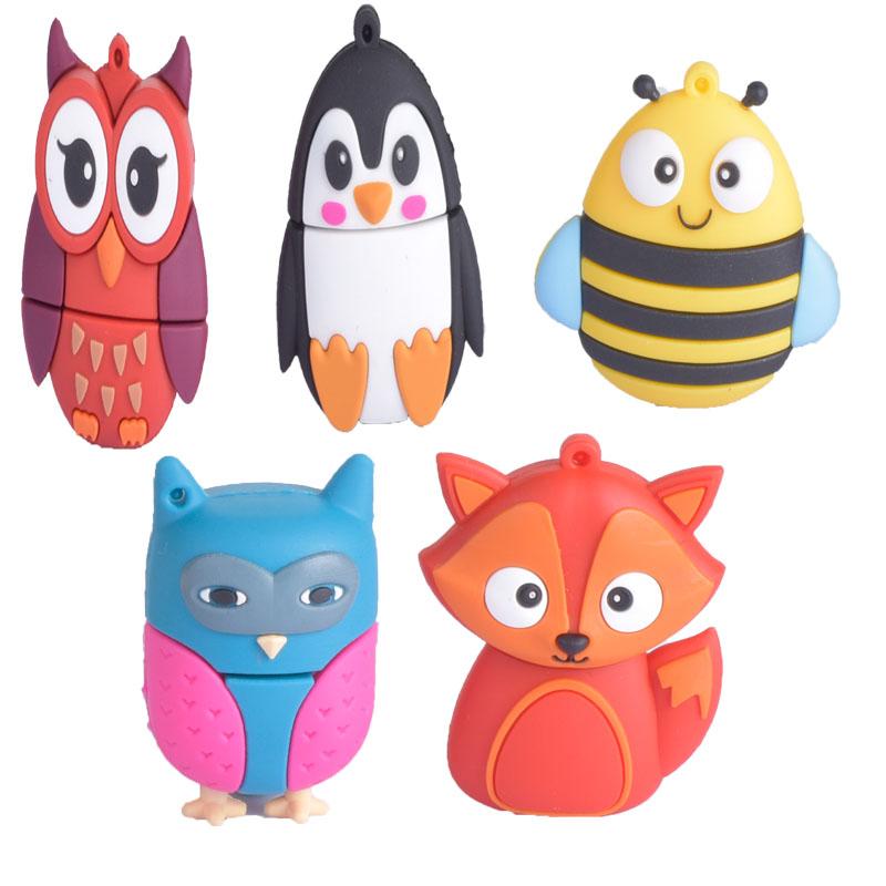 Гаджет  The NEW Cute Owl & Fox & Bee & Penguin  USB 2.0 4GB 8GB 16GB 32GB 64GB Usb Flash Drive pendrive thumb Memory stick Pend drives None Компьютер & сеть