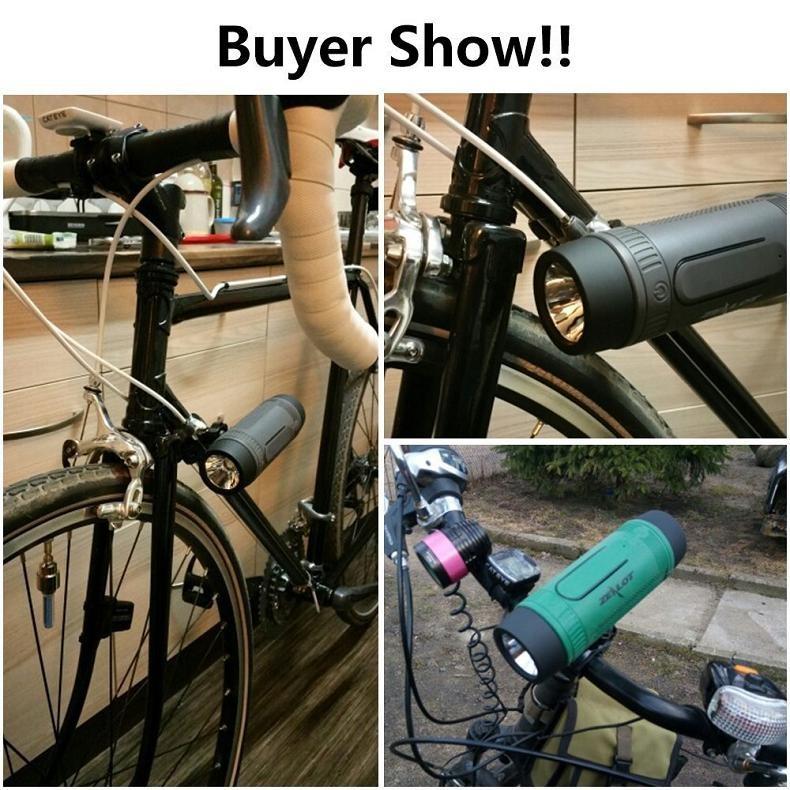 ถูก คลั่งS1บลูทูธกลางแจ้งจักรยานลำโพงแบบพกพาซับวูฟเฟอร์เบสลำโพง4000มิลลิแอมป์ชั่วโมงธนาคารอำนาจ+ไฟLED +จักรยานภูเขา+ c arabiner