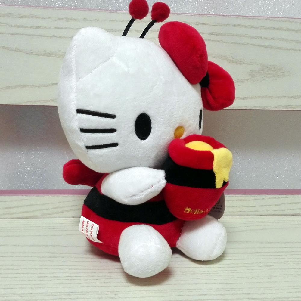 New arrival Sanrio Hello Kitty Toys Super Soft Stuffed Kitty Holding Honey pot 18cm mini size Cat doll Anime toys for children(China (Mainland))