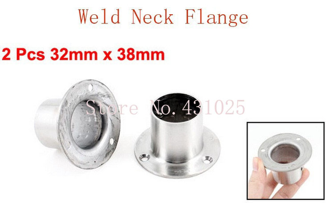 2 Pcs 32mm x 38mm Sliver Tone Stainless Steel Pipe Tube Weld Neck Flange