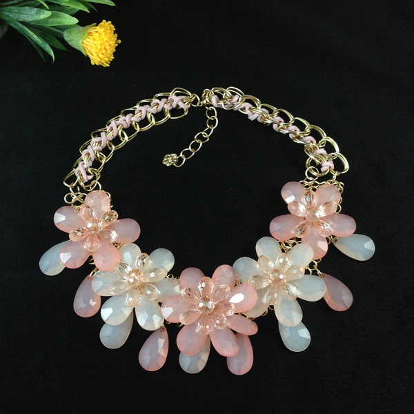 Spring 2014 fashion luxury resin flower necklace wedding ...