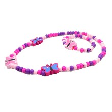 Children Costume Jewelry Sets Girls Butterfly Cute Multi Colored Wooden Accessories Sets Necklace Bracelet Kids Party Fun Gifts(China)
