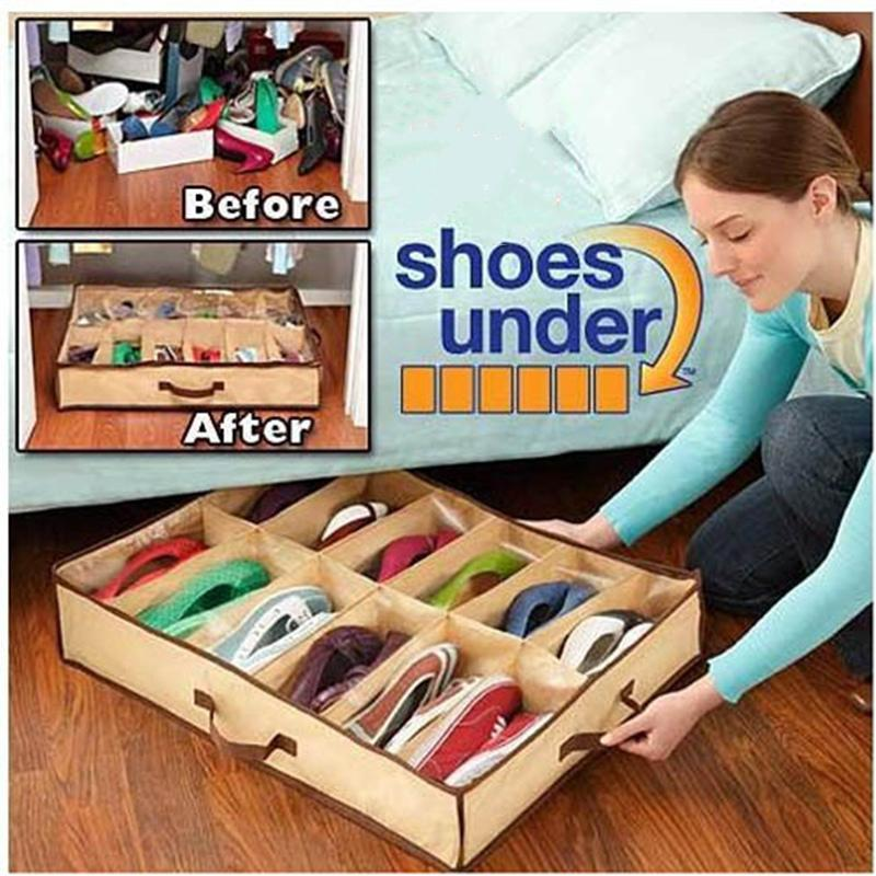 High capacity 12 grid dustproof / mildew shoes organizers transparent film storage shoes cabinet Storage Bags(China (Mainland))