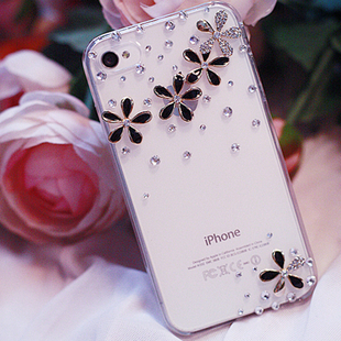Bulk Luxury 3D Five flower Bling Crystal Diamond flower Case Cover For iPhone 3 3G 3GS retail box Accessory(China (Mainland))