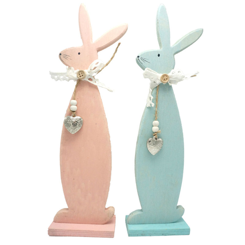 easter decoration wood easter rabbit easter bunnier 3.3in*1.6in*12in blue & pink home & garden wood craft free shipping(China (Mainland))