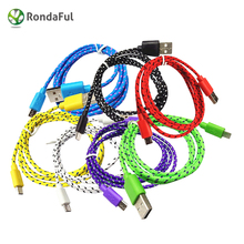 1m 2m 3m Hot Sell Nylon Braided Fabric Micro USB Cable Charger Data Sync USB Cable Cord for Samsung Galaxy Android Smart Phone