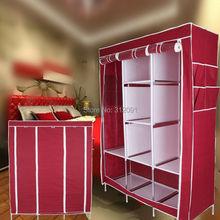 "48.4"" x 67.7"" x 16.5"" Portable Closet Wardrobe Clothes Rack Storage Organizer Garment Wine Red(China (Mainland))"