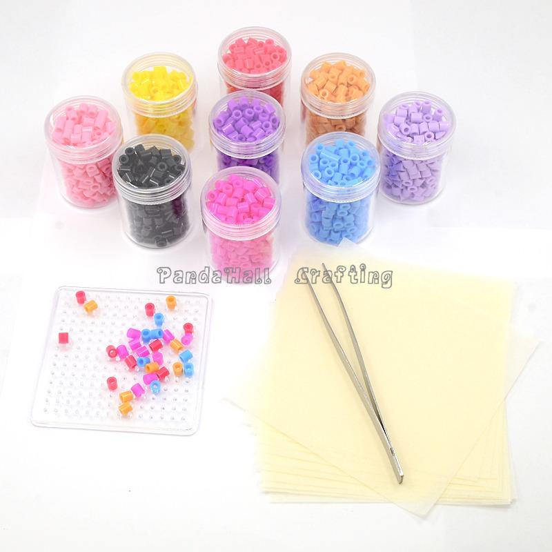 1800pcs 5mm Melty Beads Fuse/Perler Beads DIY Educational Toys, 1pc Iron Tweezers and Square ABC Pegboards, 12pcs Gummed Paper,<br><br>Aliexpress