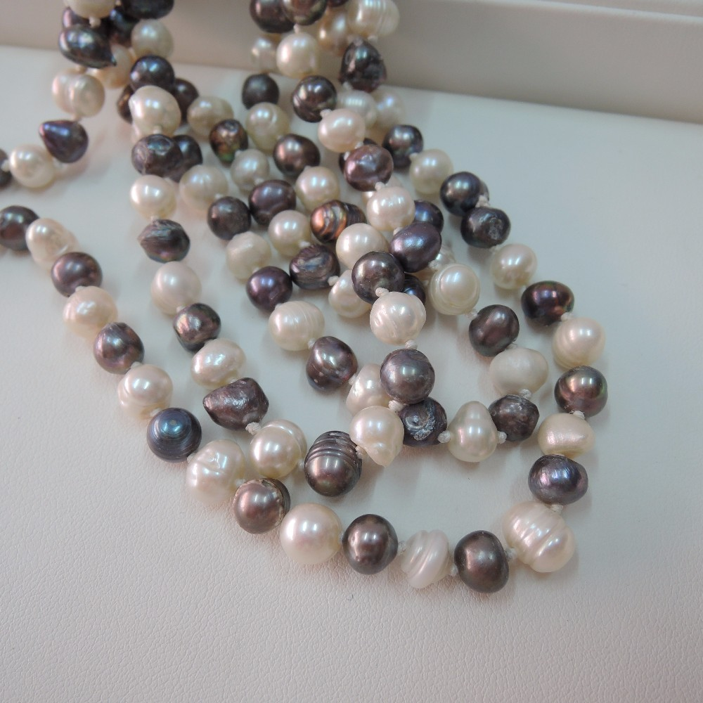 100% NATURE FRESH-WATER AAA PEARL LONG   NECKLACE-120 CM in near round  shape
