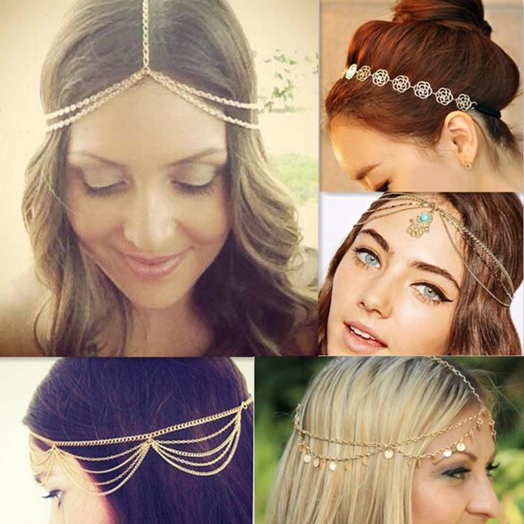 2015 New Fashion plated Gold Head Chain / Metal Chain Hair Head Wrap Jewelry Wholesale / Pieces Women Boho Headpiece Headband(China (Mainland))