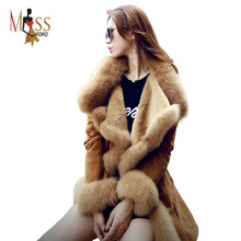 2015 new winter high fashion women's luxurious faux fur coat  slim fit Suede Faux Leather long outerwear parkas top quality(China (Mainland))