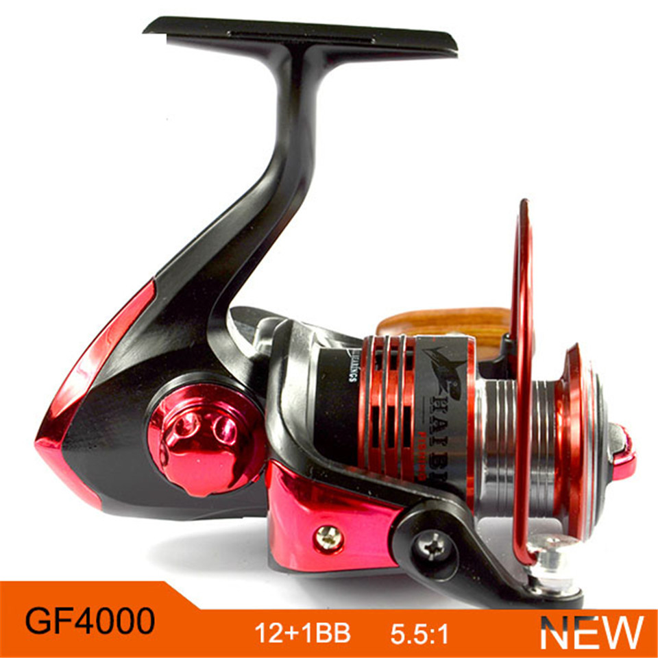 New Fishing Reel Pre-Loading Red Spinning GF4000 Left Right Fishing Wheel Tackles 12BB 5.5:1 Front Drag Spinning Reels(China (Mainland))