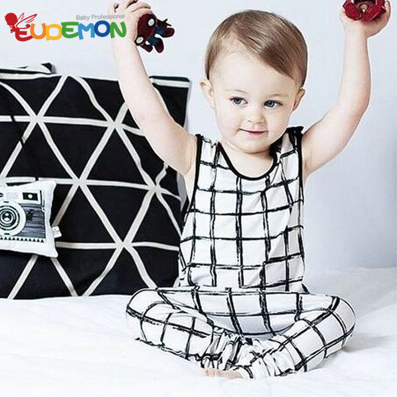 2016 kids clothes Baby Vest And Pants 2 pcs Suit Baby Clothing Sets Cotton Grid baby boy clothes todller children's clothing(China (Mainland))