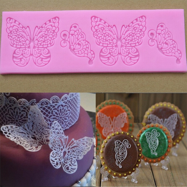 High Quality New DIY Craft Silicone Butterfly Lace Mold Cake Decorating Paste kitchen Tools Free Shipping akdv(China (Mainland))