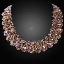 Free Shipping 2014 New Stylish Gold Plate Chunky Choker Bib Collar Statement Necklace Fashion Thick Chains