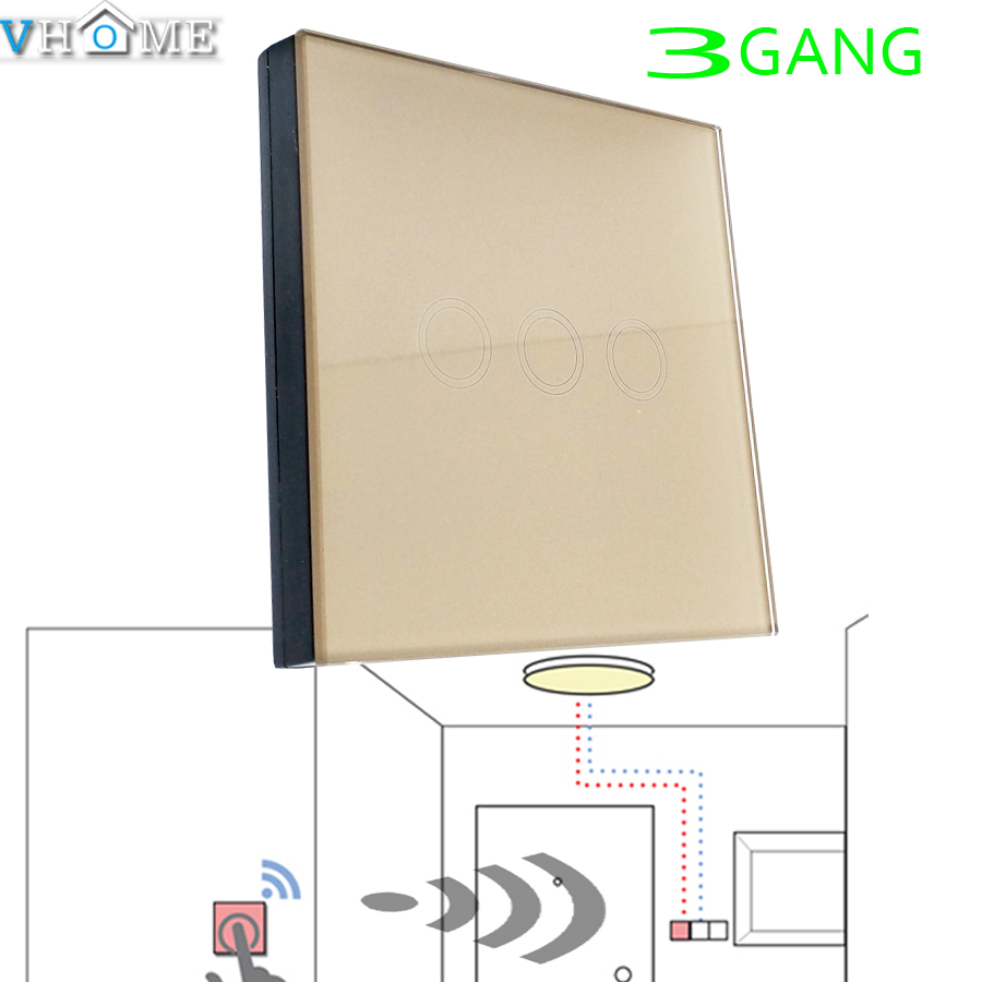 Vhome 433MHZ wireless Gold Glass panel remote control,Switch shape control for Touch switches, garage doors, electric curtains(China (Mainland))