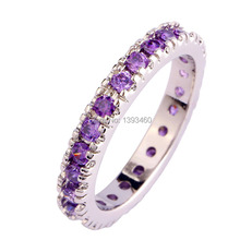 Vogue Simple Amethyst Enchanting Cute 925 Silver Ring Size 6 7 8 9 10 11 Fashion Jewelry For Women