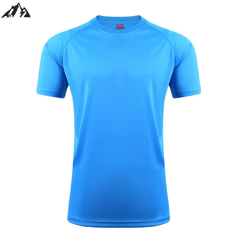 2016 New Men Soccer Jerseys Running T-Shirt Summer Tops Slim Fit Sport Shirt Fitness Gym Quick Dry Pure Color Football Jersey(China (Mainland))
