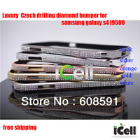 LUXURY Czech drilling  Diamond bumper for samsung galaxy s4 i9500 ,  Diamond Crystal Bling Aluminum Bumper  ,1PCS free shipping