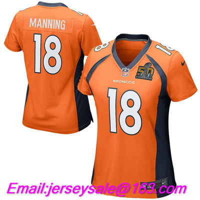 2016 Women Denver Broncos #18 Peyton Manning embroideried Logo Orange Navy Blue with 50th Patches(China (Mainland))